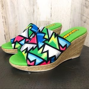 Loudmouth Crystal Neon Geometric shapes Wedges